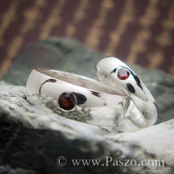ชุดแหวนคู่ แหวนเกลี้ยงหน้าโค้ง ฝังพลอยโกเมน #4