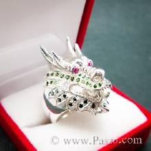 แหวนหัวมังกร ฝังพลอย3สี แหวนเงินแท ้ แหวนผู้ชาย