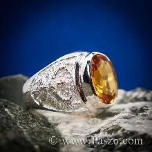 แหวนครุฑ แหวนผู้ชายเงินแท้ พลอยสีเหลืองแม่โขง แหวนเงินแท้