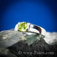 แหวนพลอยเพอริดอท พลอยสีเขียวน้ำมะนาว แหวนเงินแท้