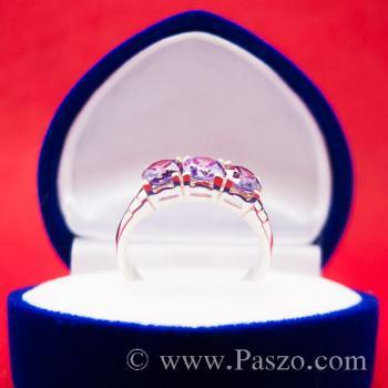 แหวนพลอยสีม่วง พลอย3เม็ด แหวนอะเมทิสต์ #3