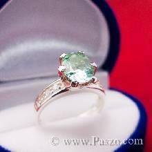 แหวนพลอยอะความารีน สีเขียวน้ำทะเล บ่าข้างแหวนฝังเพชร ตัวเรือนแหวนเงินแท้