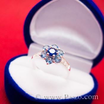 แหวนดอกไม้ แหวนพลอยไพลิน แหวนเงินแท้ #2