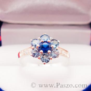 แหวนดอกไม้ แหวนพลอยไพลิน แหวนเงินแท้ #3