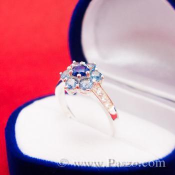 แหวนดอกไม้ แหวนพลอยไพลิน แหวนเงินแท้ #4