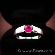 แหวนเงินแท้ ฝังพลอยทับทิม สีแดง  แหวนพลอยทับทิม  พลอยสีแดง