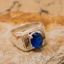 แหวนผู้ชาย แหวนผู้ชายไพลิน พลอยสีน้ำเงิน บ่าฝังเพชร แหวนพลอยสีน้ำเงิน