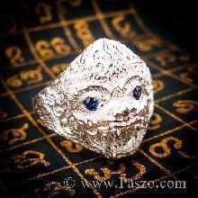 แหวนหนุมาน ฝังพลอยไพลิน พลอยสีน้ำเงิน แหวนผู้ชายเงินแท้ 925 แหวนผู้ชาย