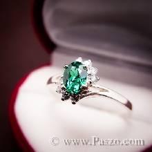 แหวนพลอยมรกต แหวนพลอยสีเขียว บ่าเพชร แหวนเงินแท้ แหวนวงเล็ก