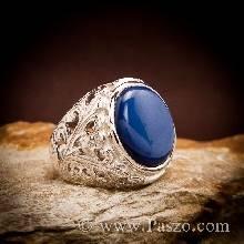 แหวนนิหร่า แหวนผู้ชาย ฉลุลาย แหวนผู้ชายเงินแท้ พลอยไพลิน