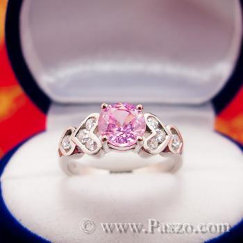แหวนพลอยสีชมพู แหวนเงินแท้ Pink #4