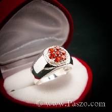 แหวนผู้ชาย แหวนเงิน หน้าแปดเหลี่ยม ฝังพลอยโกเมน สีส้ม
