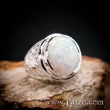 แหวนโอปอล แหวนผู้ชายเงินแท้ แหวนมังกร ฝังพลอยโอปอล์ แหวนผู้ชาย