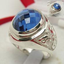 แหวนพลอยสีฟ้า แหวนผู้ชายเงินแท้ แหวนมังกร แหวนผู้ชาย
