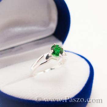 แหวนสีเขียว แหวนเงินแท้ แหวนเล็ก #2