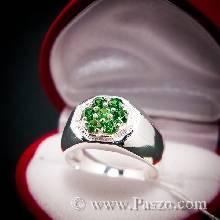แหวนพลอยสีเขียว แหวนเงินแท้ แหวนแปดเหลี่ยม พลอยมรกต 7เม็ด แหวนสำหรับผู้ชายนิ้วเล็ก แหวนผู้ชาย