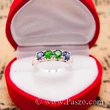 แหวนพลอยแถว 4เม็ด พลอยสีเขียว พลอยสีน้ำเงิน แหวนเงินแท้