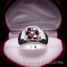 แหวนโกเมน แหวนผู้ชาย แหวนแปดเหลี่ยม แหวนพลอยผู้ชาย พลอยสีแดงก่ำ แหวนเงินแท้