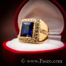 แหวนไพลิน แหวนผู้ชายทองแท้ แหวนทอง90 ฝังพลอยไพลิน พลอยสีน้ำเงิน เม็ดสี่เหลี่ยม ล้อมเพชร ล้อมเพชร แหวนทรงสี่เหลี่ยม