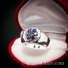 แหวนทรงแปดเหลี่ยม แหวนผู้ชายไพลิน พลอย7เม็ด แหวนผู้ชายเงินแท้ แหวนผู้ชาย