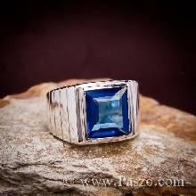 แหวนไพลิน แหวนผู้ชายพลอยสี่เหลี่ยม แหวนผู้ชายเงินแท้ พลอยไพลิน แหวนเงินแท้ 925 แหวนผู้ชาย