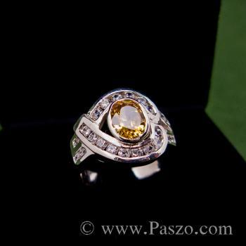 แหวนพลอยบุษราคัม ล้อมรอบด้วยเพชร แหวนเงินแท้ #2