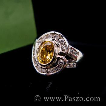 แหวนพลอยบุษราคัม ล้อมรอบด้วยเพชร แหวนเงินแท้ #3