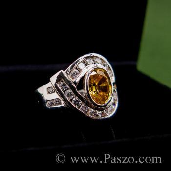 แหวนพลอยบุษราคัม ล้อมรอบด้วยเพชร แหวนเงินแท้ #4