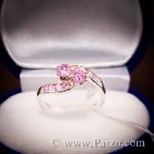 แหวนพลอยสีชมพู pink topaz แหวนเงินแท้