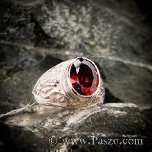 แหวนโกเมน แหวนผู้ชาย แหวนมอญ แกะสลักลายไทย ฝังพลอยโกเมน พลอยสีแดงก่ำ  แหวนเงินแท้ รุ่นเล็ก