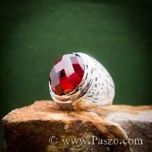 แหวนพลอยโกเมน แหวนมังกร พลอยสีแดงก่ำ เจียรตาสับปะรด แหวนเงินแท้ แหวนผู้ชาย