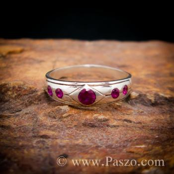 แหวนพลอยสีแดงทับทิม 5เม็ด แหวนเงินแท้ #2