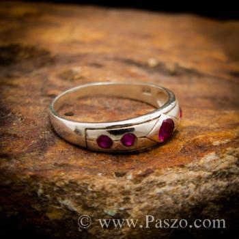 แหวนพลอยสีแดงทับทิม 5เม็ด แหวนเงินแท้ #3