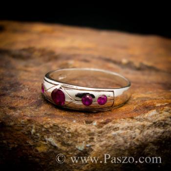แหวนพลอยสีแดงทับทิม 5เม็ด แหวนเงินแท้ #4