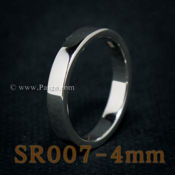 แหวนเกลี้ยงหน้าเรียบ กว้าง4มิล แหวนเงินขอบตรง #8