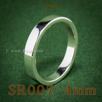 แหวนเกลี้ยงหน้าเรียบ กว้าง4มิล แหวนเงินขอบตรง #7