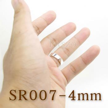 แหวนเกลี้ยงหน้าเรียบ กว้าง4มิล แหวนเงินขอบตรง #2