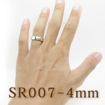แหวนเกลี้ยงหน้าเรียบ กว้าง4มิล แหวนเงินขอบตรง #3