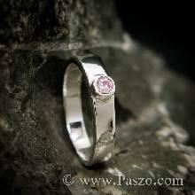 แหวนเงินแท้ พลอยสีชมพู แหวนพลอยเม็ดเล็กๆ
