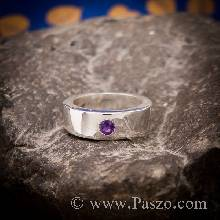 แหวนพลอยสีม่วง แหวนเงินเกลี้ยง ฝังพลอยสีม่วง พลอยอเมทิส พลอยสีม่วง แหวนเงินแท้