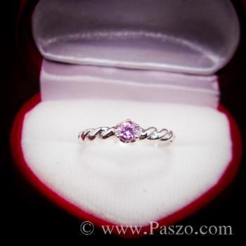 แหวนพลอยชมพู พิงค์โทพาซ แหวนเงินแท้ #2