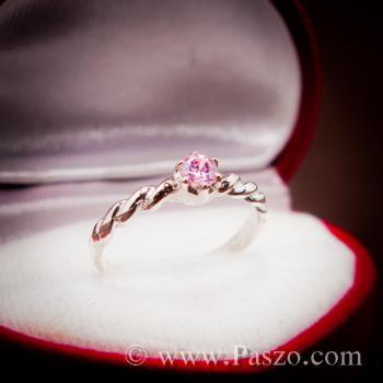 แหวนพลอยชมพู พิงค์โทพาซ แหวนเงินแท้ #3