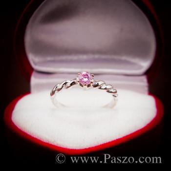 แหวนพลอยชมพู พิงค์โทพาซ แหวนเงินแท้ #4