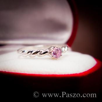 แหวนพลอยชมพู พิงค์โทพาซ แหวนเงินแท้ #5