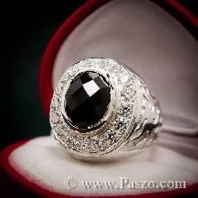 แหวนผู้ชาย ฝังนิล พลอยสีดำ ล้อมเพชร แหวนเงินแท้ สลักลายมังกร