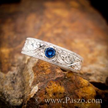 แหวนแกะลายไทย แหวนพลอยสีน้ำเงิน แหวนไพลิน #2