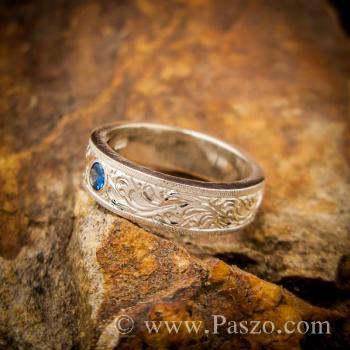 แหวนแกะลายไทย แหวนพลอยสีน้ำเงิน แหวนไพลิน #3