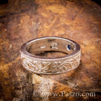 แหวนแกะลายไทย แหวนพลอยสีน้ำเงิน แหวนไพลิน #4