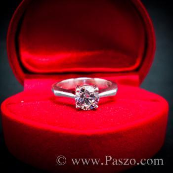แหวนเพชร แหวนเพชรเม็ดเดี่ยว แหวนเงินฝังเพชร #6