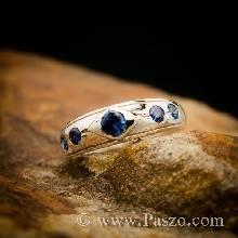 แหวนพลอยไพลิน 5เม็ด แหวนเงินแท้ แหวนวงเล็ก